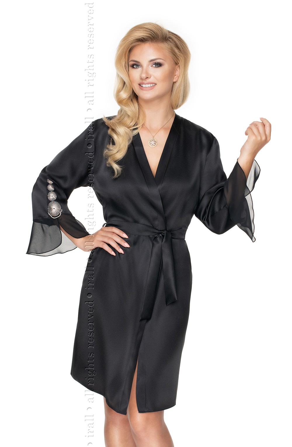 Details about  /Irall Cleopatra Dressing Gown Black