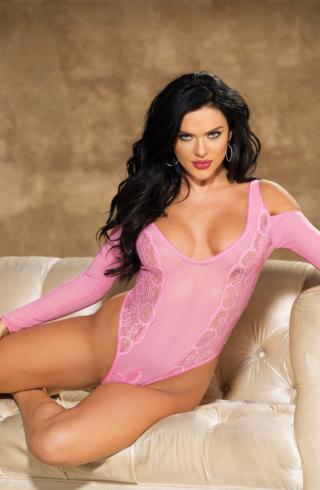 ladies lacey pink lingerie teddy
