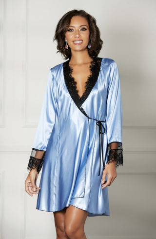 shirley of hollywood ladies robe in baby blue colour with black trim