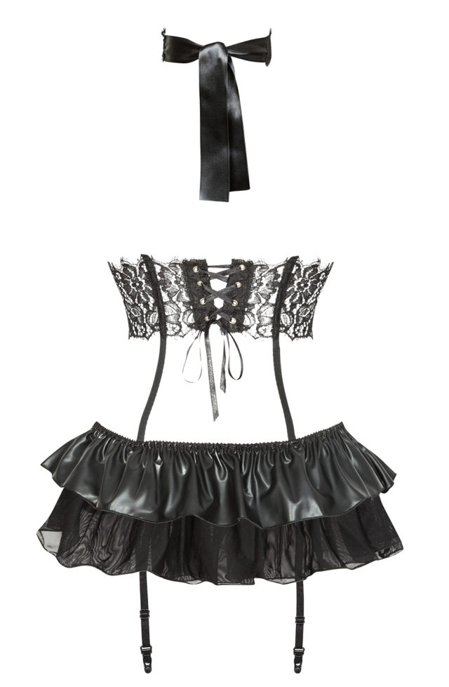 ladies black skirt and corset set with garters and matching lace mask