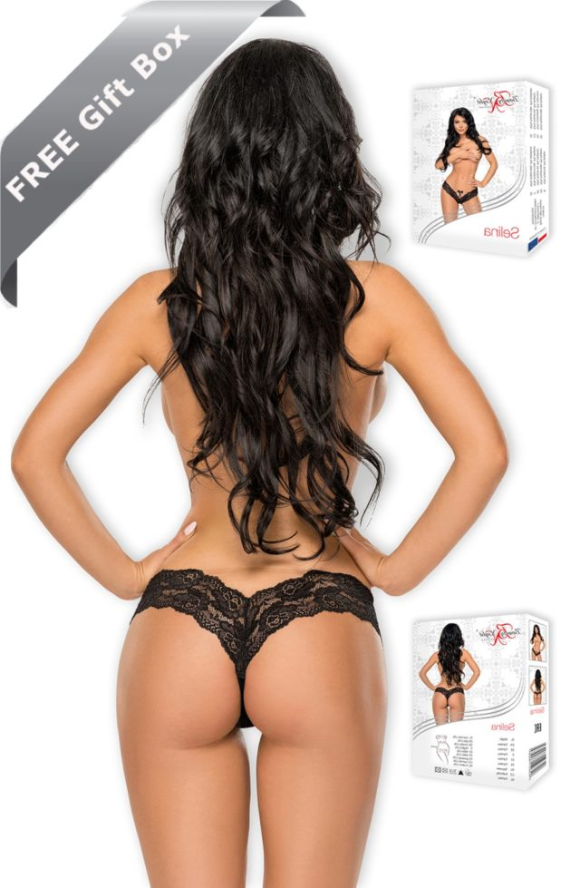 ladies black lace thong