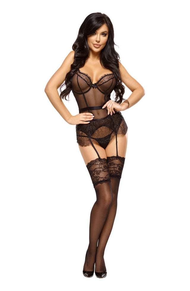 black ladies chemise designed to look like a corset with matching thong