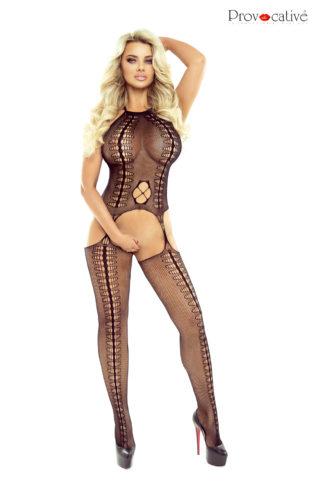 ladies black fishnet bodystocking by provocative pr1552