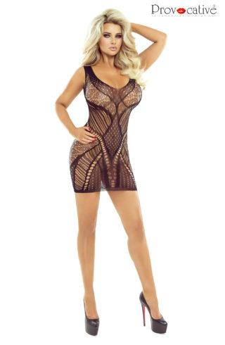 black fishnet dress by provocative